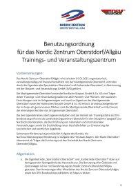 Nordic Zentrum Oberstdorf Benutzungsordnung