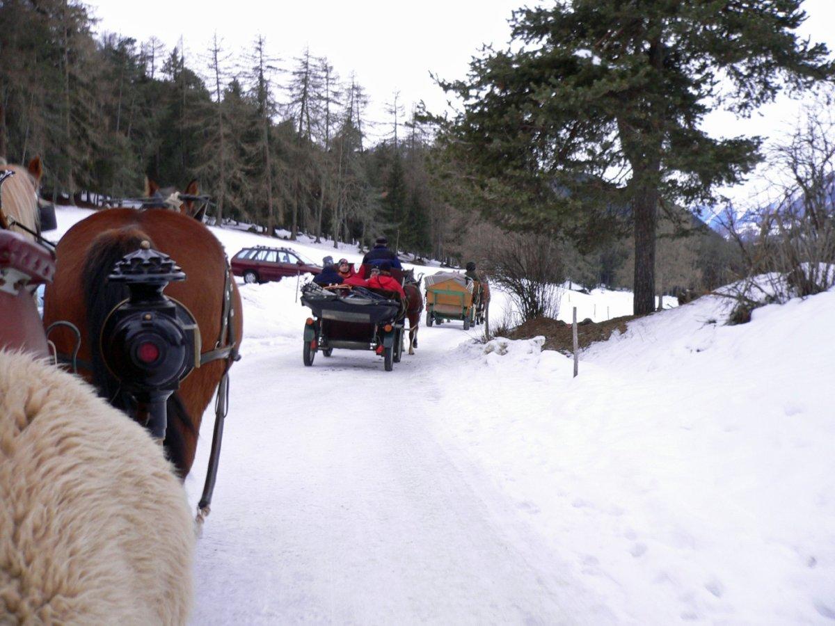 5.Tag - ...und dann mit der Pferdekutsche weiter ins einsame Val S-charl (1.810 m)