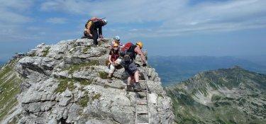 3. Tag - Auf dem Hindelanger Klettersteig sind absolute Trittsicherheit und Schwindelfreiheit erforderlich