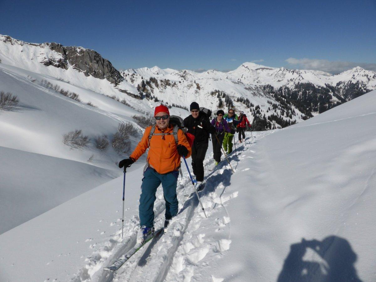 1. Tag - Im Aufstieg zum Hochalppass, im Hintergrund das Kleine Walsertal mit dem Hohen Ifen