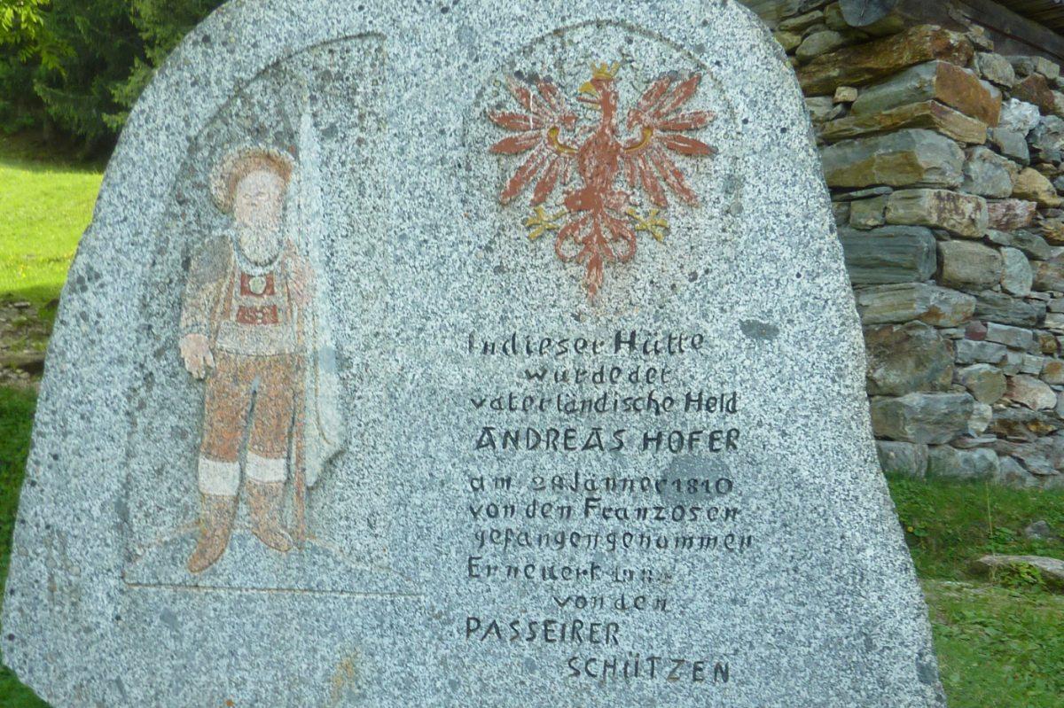 6. Tag - Gedenkstein an der Hütte von Andreas Hofer, hier wurde er umzingelt und gefangen genommen