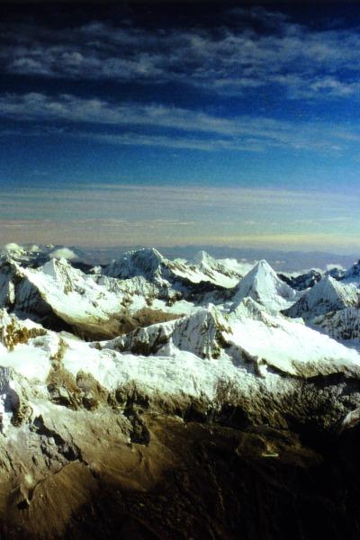 Blick vom Nordgipfel des Huascaran (6.655 m) Cordillera Blanca, Peru