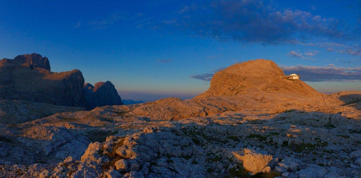 Dolomiten Höhenweg 2 - Die Rosetta in der Abendsonne