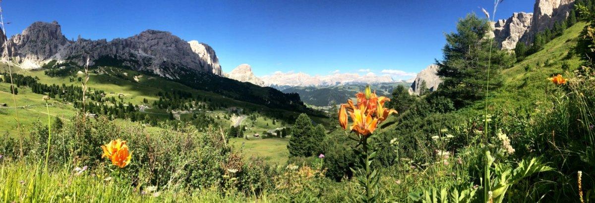 Dolomiten Höhenweg 2 - Blick aufs Grödner Joch