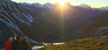 Alpen überquerungen Sonnenuntergang