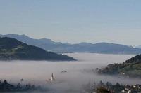 Nebel im Tal - Blick von Haubers Bergfrühstück