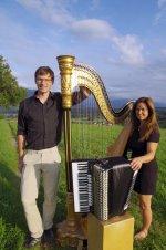 Konzert Banjasto mit Harfe und Akkordeon