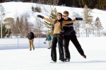 Gemeinsames Eislaufen am Glashaus im Staufenpark.