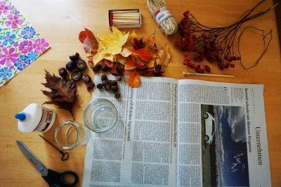 Bastelutensilien für Herbstdeko aus Oberstaufen