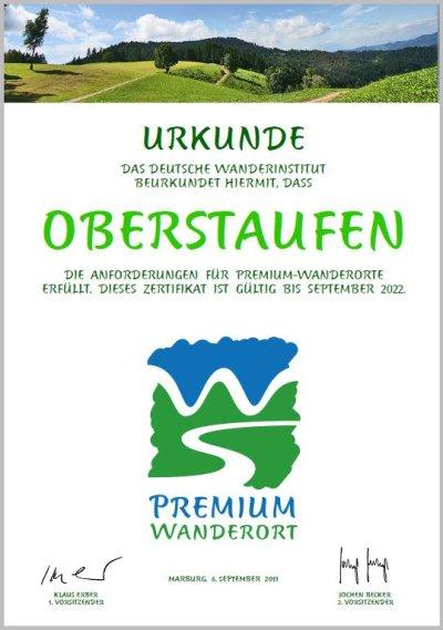 Urkunde Premiumwanderort