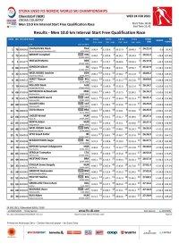 Langlauf Herren Qualifikations-rennen 10.0 km Freistil