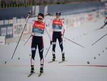 Jarl Magnus RIIBER  (NOR, left) crosses the finish line during Nordic Combined Men Individual Gundersen NH/10.0km