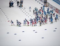 Atheletes compete in the Cross Country Women 7.5km Classic + 7.5km Free Skiathlon