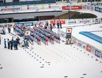 Athletes perform in the Cross Country Men 15.0km Classic + 15.0km Free Skiathlon