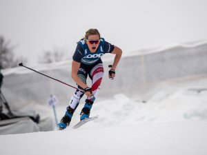 Jessie DIGGINS from the USA competes in the Cross Country Women 7.5km Classic + 7.5km Free Skiathlon