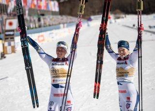 World champion 2021 Team Sweden, Maja DAHLQVIST (left) and Jonna SUNDLING (right), Cross Country Women Team Sprint