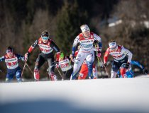 Maja DAHLQVIST from Sweden (center) competes in the Cross Country Women Team Sprint