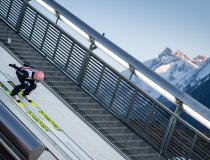 Karl Geiger of Germany competes during the Ski Jumping Mixed Normal Hill Team first round