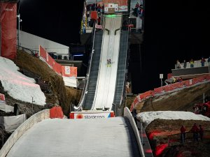 Markus Eisenbichler (GER) competes during the Ski Jumping Mixed Normal Hill Team final round
