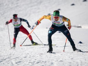 Fabian Riessle (GER) competes in the Men Nordic Combined Team Gundersen NH/4x5km competition round