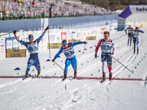 Joni Maki (FIN, l.), Ferderico Pellegrino (ITA, c.) and Solaas Haavard Taugboel (NOR,r.), Cross Country Men Sprint Classic