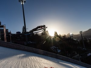 A skijumper competes in the competes in the Ski Jumping Women Normal Hill Individual Trial Round