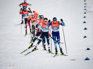 Atheletes compete during Nordic Combined Men Individual Gundersen NH/10.0km