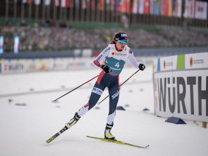Marte LEINAN LUND (NOR) reacts during Nordic Combined Women Individual Gundersen NH/5km