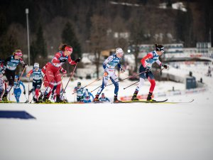 Atheletes compete in the Cross Country Women 7.5km Classic + 7.5km Free Skiathlon Kopie