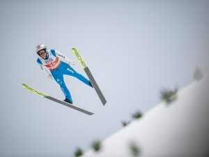 Simon Ammann (SUI) competes in the Men Normal Hill Individual competition round