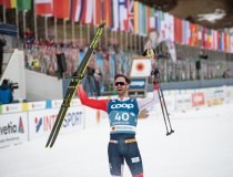 World Champion Hans Christer HOLUND (NOR) celebrates in the Cross Country Men 15.0 km Interval Start Free