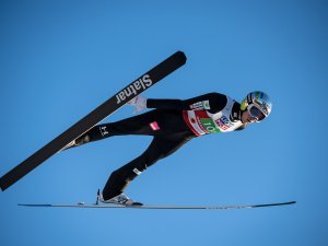Bor Pavlovcic (SLO) competes during the Ski Jumping Mixed Normal Hill Team first round