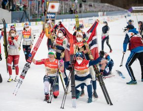 World Champion relay team from Norway celebrates in the Cross Country Women's Relay 4x5.0 km