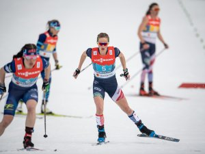 Jessie DIGGINS (USA) competes the Cross Country Women's Relay 4x5.0 km