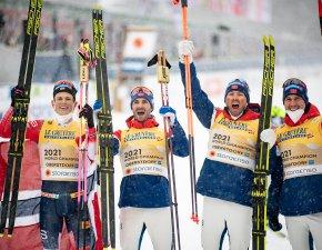 World Champion, Team Norway celebrates in the Men Relay 4x10.0km