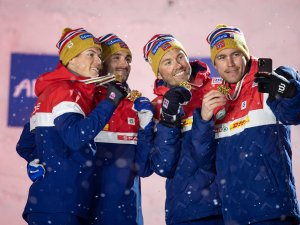 World Champion Team Norway capture a selfie during the medal ceremony of the Cross Country Men Relay 4x10km