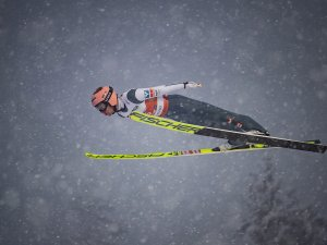 Stefan Kraft of Austria competes during the Ski Jumping Men Large Hill Individual first round