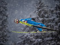 Robert Johansson of Norway competes during the Ski Jumping Men Large Hill Individual first round