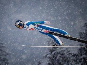 Ryoyu Kobayashi of Japan competes during the Ski Jumping Men Large Hill Individual first round