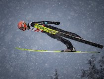Karl Geiger of Germany competes during the Ski Jumping Men Large Hill Individual first round
