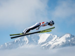 Johannes Lamparter (AUT) competes during the Ski Jumping Men Nordic Combined Team Sprint LH/2x7.5km
