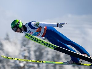Ilkka Herola of finland competes during the Ski Jumping Men Nordic Combined Team Sprint LH:2x7.5km