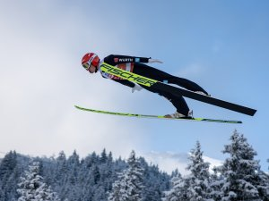 Eric Frenzel (GER) competes during the Ski Jumping Men Nordic Combined Team Sprint LH/2x7.5km trial jump