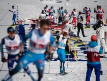 Athletes compete during the Cross Country Men Nordic Combined Team Sprint LH:2x7.5km