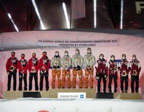 Silver medal winner Team Austria (L-R), Gold medal winner Team Germany and Bronze medal winner Team Poland pose during the medal