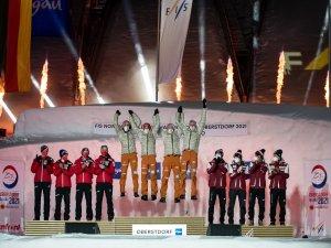 2nd Team Austria (L-R), Gold medal winner Team Germany, 3rd Team Poland