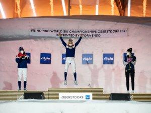 Silver medal winner Heidi Weng of Norway (L-R), Gold medal winner Therese Johaug (NOR), bronze medal winner Frida Karlsson (SWE)