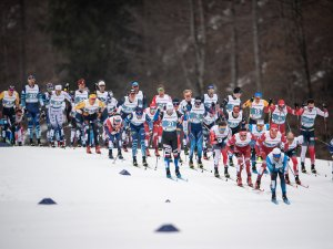 Athletes compete during the Cross Country Men 50.0 km Mass Start Classic