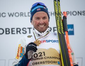 Gold medal winner Emil Iversen of Norway poses during the Cross Country Men 50KM Mass Start Classic medal ceremony