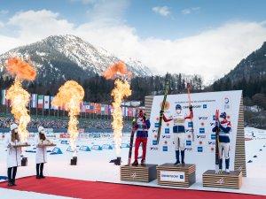 2nd Alexander Bolshunov (RSF), Gold medal winner Emil Iversen (NOR), 3rd Simen Hegstad Krueger (NOR)